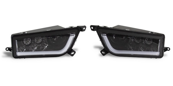 Polaris RZR 1000 LED Blackout Headlights with LED Halo Strip by Quad Logic
