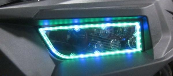 Polaris RZR 1000 S RGB Full Color Function LED Ring Headlights by Quad Logic