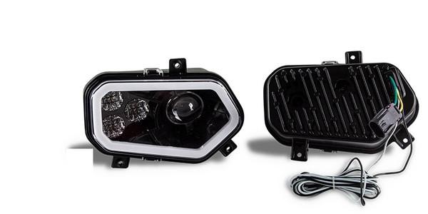 Polaris RZR 570 / 800 / 900 Black LED with HALO Headlights & Adapters by Quad Logic