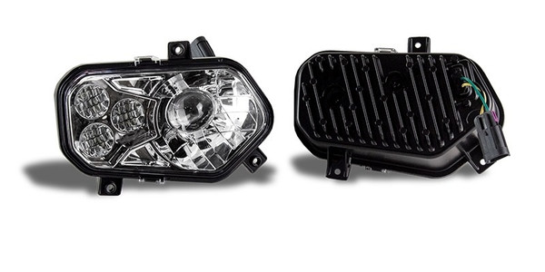 Polaris RZR 570 Chrome LED Headlights with Adapter Harnesses by Quad Logic