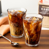 Cold, refreshing, and irresistible glasses of robust coffee made with King's Hawaiian's 100% Kona Coffee, 8oz bag of whole beans