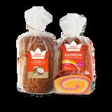 Coconut Macadamia Rainbow Delight Combo Pack includes one pack of King's Hawaiian Coconut Macadamia Nut Sliced Bread 1lb and one pack of King's Hawaiian Rainbow Bread 1lb