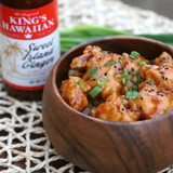 irresistible bowl of crispy fried chicken covered in King's Hawaiian Sweet Island Ginger Sauce 14.3oz over a bed of rice