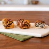 three chocolate dobash swirls on the go plated
