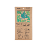 Image of packaged 3 Pack Organic Cotton Beeswax Food wraps with Tropical Green Leaf pattern on Pink background
