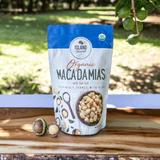 Island Harvest Organic Macadamia Nuts outdoors on wooden tray