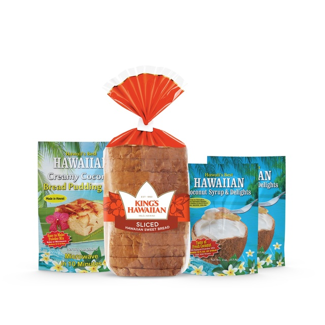 Bread Pudding Sensation Combo Pack includes one pack of King's Hawaiian Original Hawaiian Sweet Sliced Bread 12oz, one pack of King's Hawaiian Hawaiian Creamy Coconut Bread Pudding Mix 8oz, and two packs of King's Hawaiian Coconut Syrup Mix 4oz