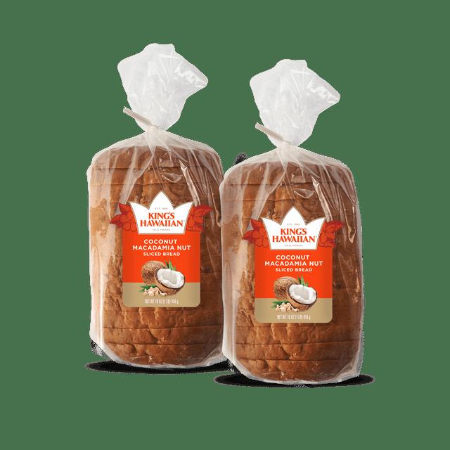 Two packs of King's Hawaiian Coconut Macadamia Nut Sliced Bread 1lb.