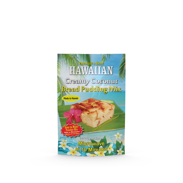 Package of Hawaii's Best Creamy Coconut Bread Pudding Mix 8oz