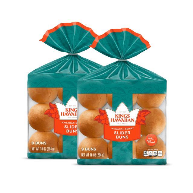 Two packs of King's Hawaiian Original Hawaiian Sweet Slider Buns (Pre Sliced) 9ct