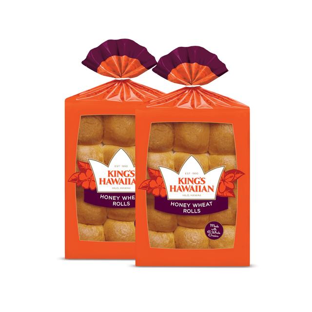 Two packs of King's Hawaiian Honey Wheat Rolls 12ct
