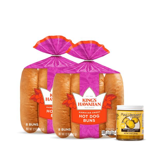 Maui Mustard Hot Dog Trio Combo Pack includes two packs of King's Hawaiian Original Hawaiian Sweet Hot Dog Buns 8ct and one jar of Maui Country Onion Garlic Mustard 7.5oz