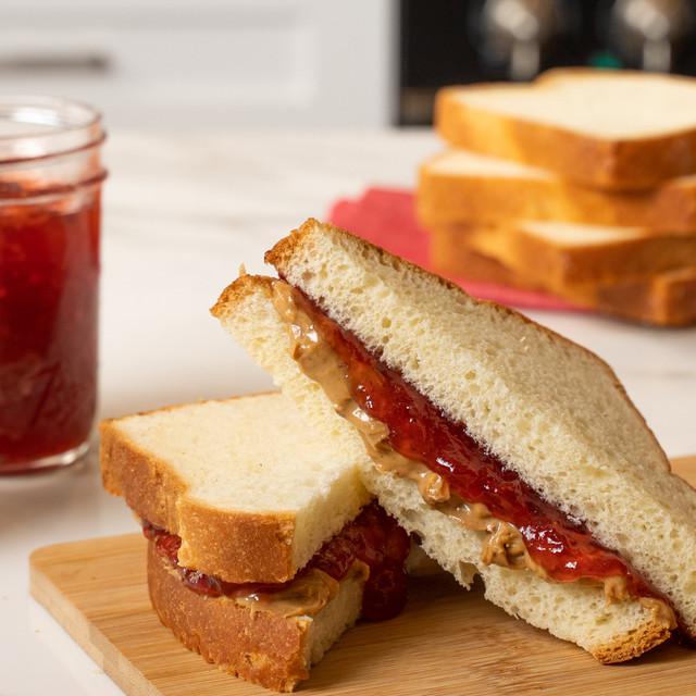 irresistible peanut butter and jelly sandwich made with King's Hawaiian Original Hawaiian Sweet Sliced Bread 1lb