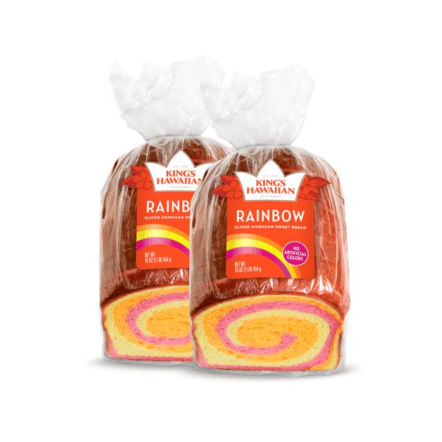 Two packs of King's Hawaiian Rainbow Bread 1lb
