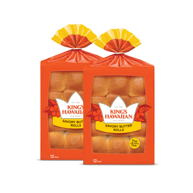 Two packs of King's Hawaiian Savory Butter Rolls 12ct