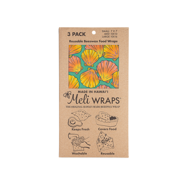 Image of packaged 3 Pack Organic Cotton Beeswax Food wraps with Gradient Pink to Yellow shells on aqua blue background