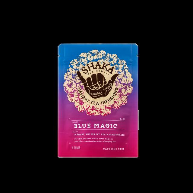 Image of front of packaging for Shaka Tea Blue Magic Bag tea