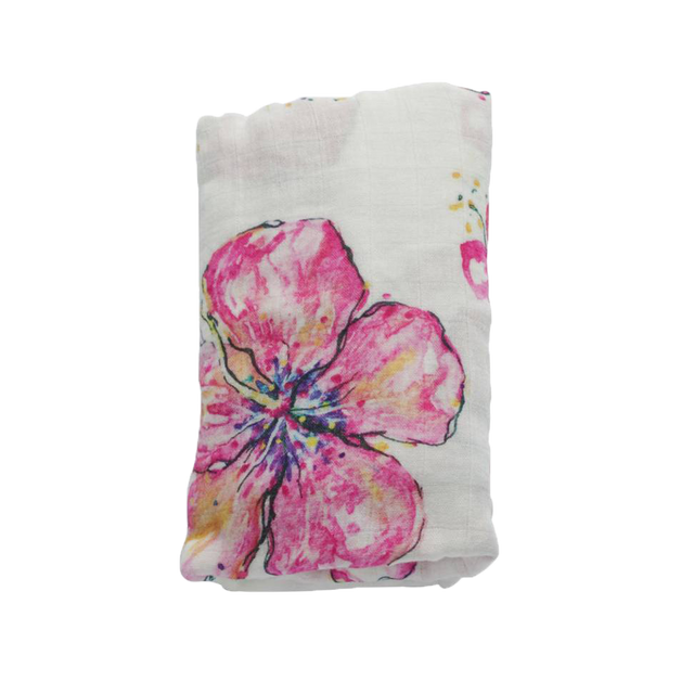 coco moon hawaii hibiscus kiss swaddle on a white background