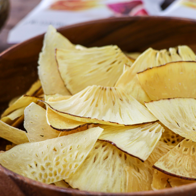 Wooden Bowl containing Bread Fruit Chips