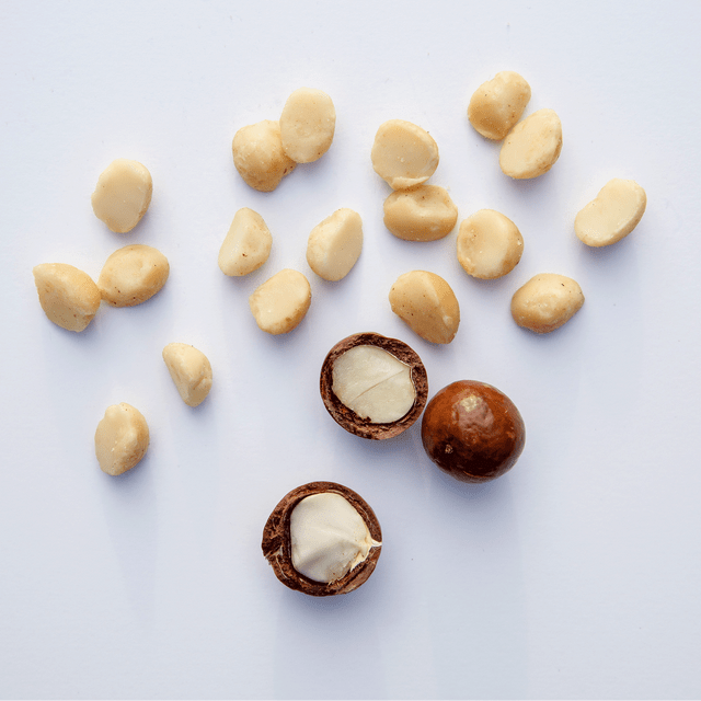 Island Harvest Organic Macadamia Nuts - Unsalted Scattered on White background
