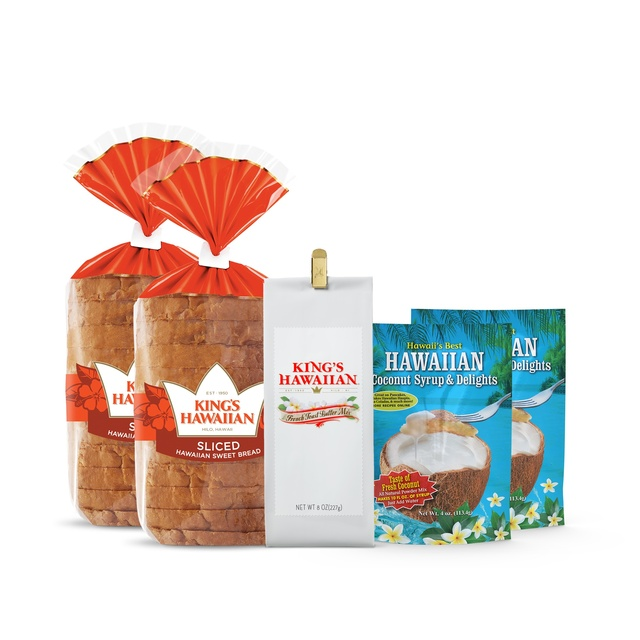French Toast Cravings Combo Pack includes two packs of King's Hawaiian Original Hawaiian Sweet Sliced Bread 1lb, one pack of French Toast Batter Mix 8oz, and two packs of Coconut Syrup Mix 4oz