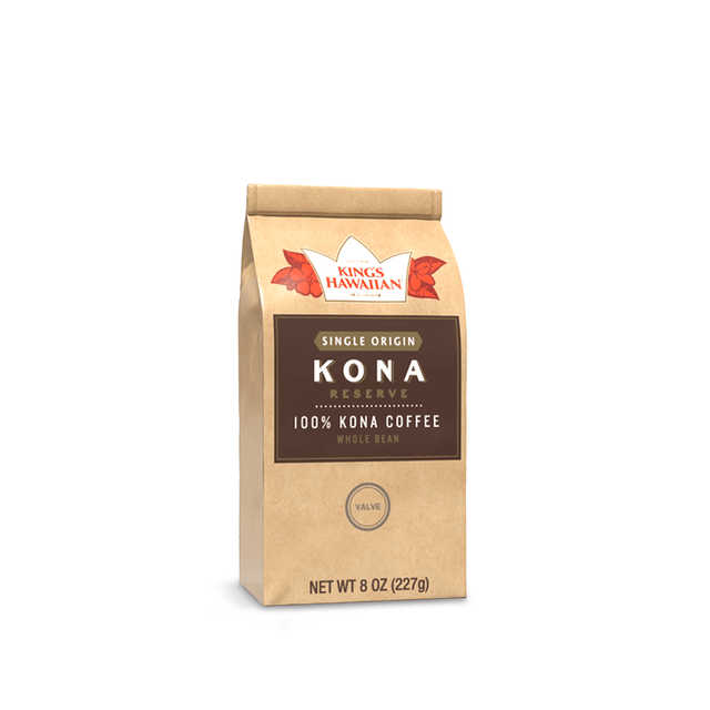 King's Hawaiian 100%, Single Origin Kona Coffee, Whole Bean 8oz