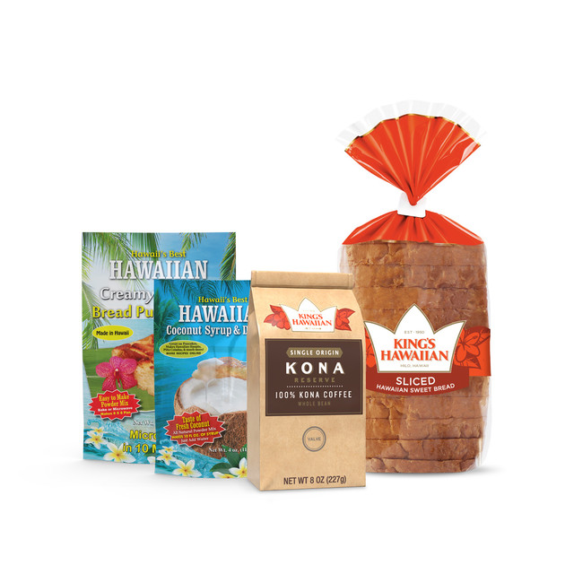 Bread Pudding & Kona Coffee Combo Pack includes one pack of King's Hawaiian Original Hawaiian Sweet Sliced Bread 12oz, one pack of King's Hawaiian Hawaiian Creamy Coconut Bread Pudding Mix 8oz, one pack of King's Hawaiian Coconut Syrup Mix 4oz, and one pack of King's Hawaiian 100% Kona Coffee ground beans 8oz