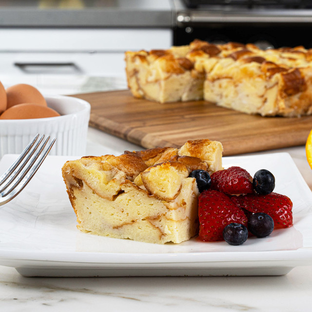 Delicious slice of bread pudding made with King's Hawaiian Original Hawaiian Sweet Sliced Bread 12oz, Hawaii's Best Creamy Coconut Bread Pudding Mix 8oz, and Hawaii's Best Coconut Syrup Mix 4oz