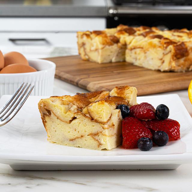 Delicious slice of bread pudding made with King's Hawaiian Original Hawaiian Sweet Sliced Bread 12oz, Hawaii's Best Creamy Coconut Bread Pudding Mix 8oz, and Hawaii's Best Coconut Syrup Mix 4oz