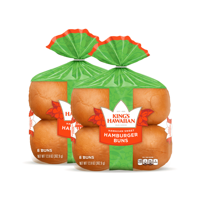 Two packs of King's Hawaiian Original Hawaiian Sweet Hamburger Buns 8ct