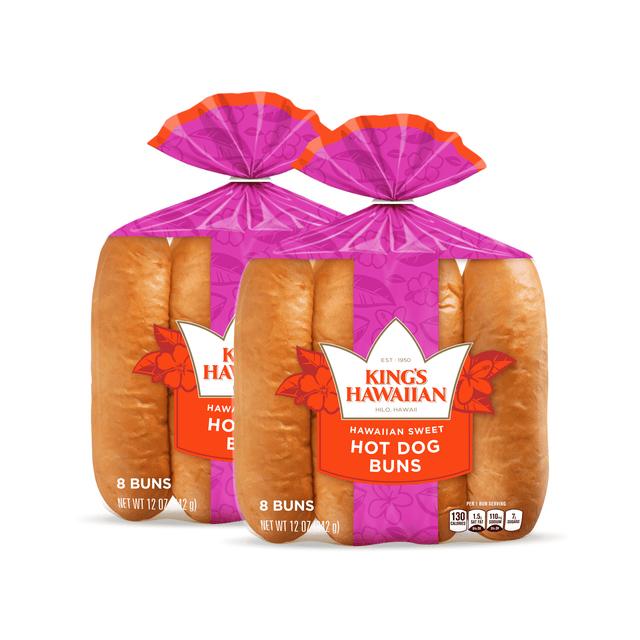 Two packs of King's Hawaiian Original Hawaiian Sweet Hot Dog Buns 8ct