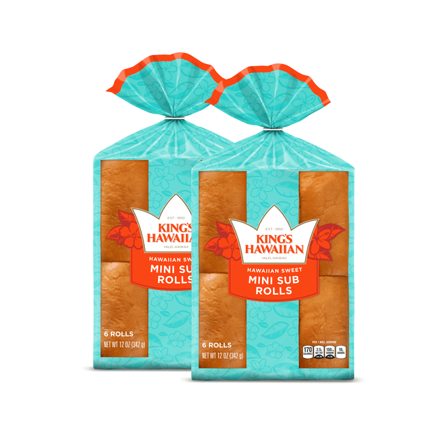 Two packs of King's Hawaiian Original Hawaiian Sweet Mini Sub Rolls 6ct