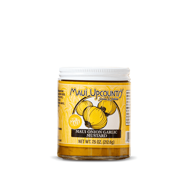 Jar of Maui Upcountry Maui Onion and Garlic Mustard 7.5oz