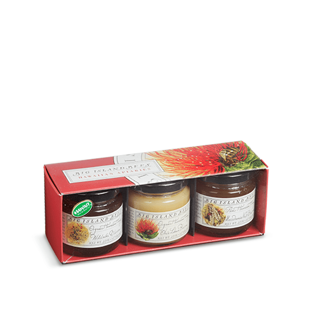 Big Island Bees Organic Hawaiian Honey Gift Set includes one jar of organic Ohia-Lehua Blossom Honey 4.5oz, one jar of organic Wilelaiki Blossom Honey 4.5oz, and one jar of Macadamia Nut Blossom Honey 4.5oz
