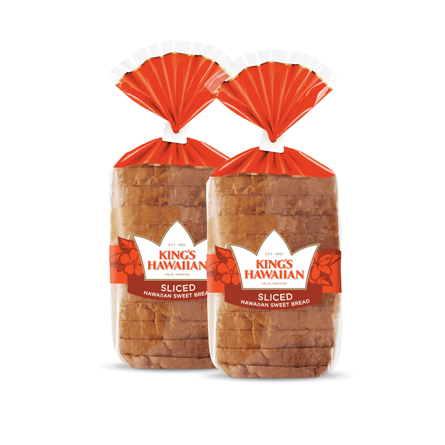 Two pack of King's Hawaiian Original Hawaiian Sweet Sliced Bread 1lb