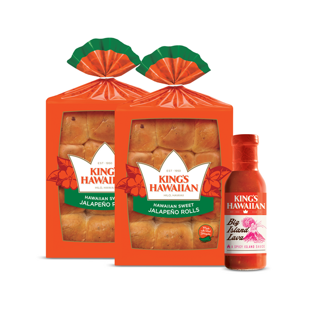 Spicy Roll Combo Pack includes two packs of King's Hawaiian Hawaiian Sweet Jalapeño Rolls 12ct and one bottle of King's Hawaiian Big Island Lava Sauce 15oz