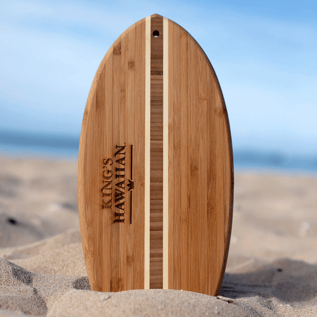 Durable, stylish, and functional King's Hawaiian Surfboard Cutting Board made from bamboo
