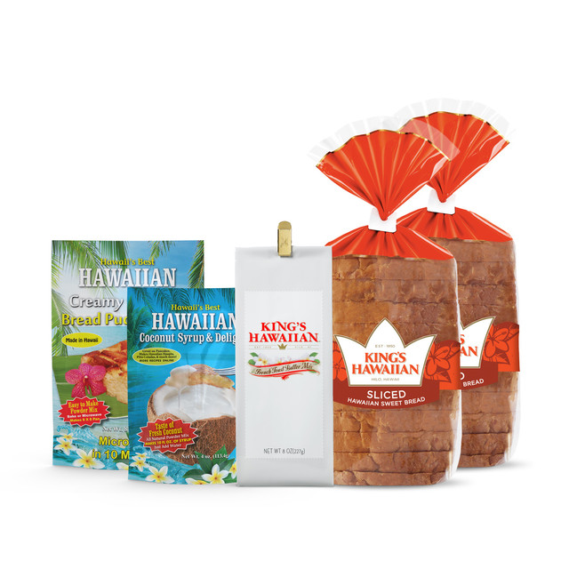 Sweet Hawaiian Temptations Combo Pack contains two packs of King's Hawaiian Original Hawaiian Sweet Sliced Bread 1lb, one pack of Creamy Coconut Bread Pudding Mix 8oz, one pack of French Toast Batter Mix 8oz, and one pack of Coconut Syrup Mix 4oz