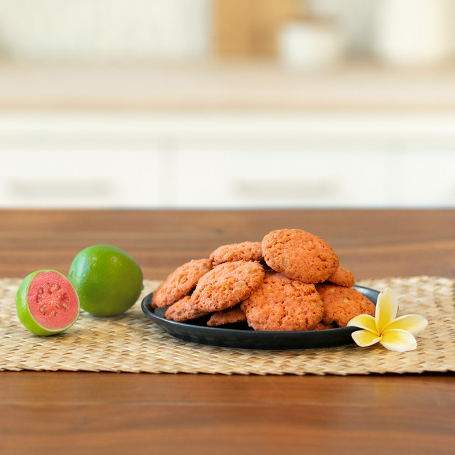 guava crunch cookies on a plate