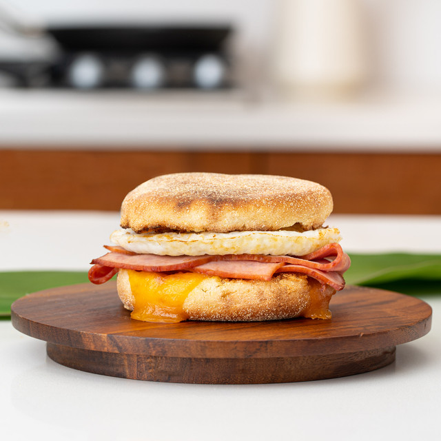 original hawaiian sweet english muffin ham and cheese sandwich