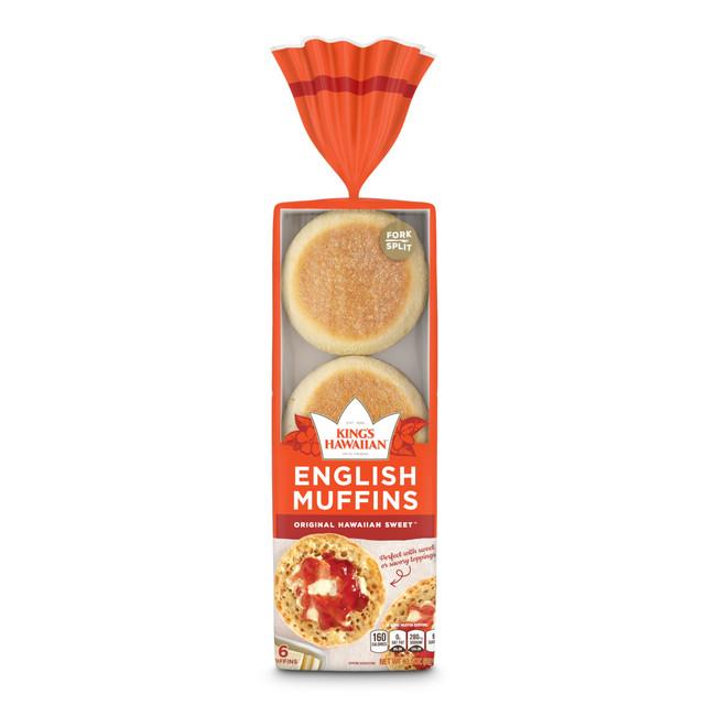 kings hawaiian original hawaiian sweet english muffins packaged