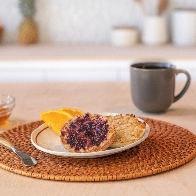 sliced honey wheat english muffins with jam
