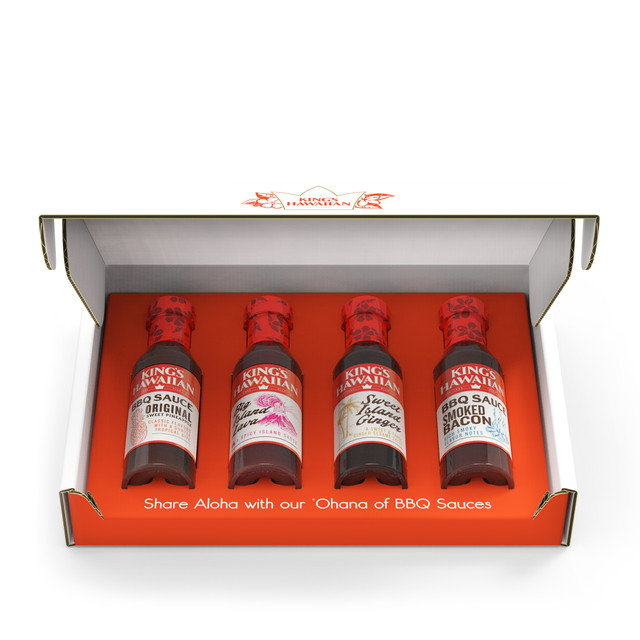 different bbq sauce bottles in a box