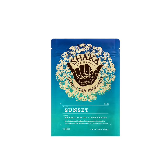 Image of front of packaging for Shaka Tea Sunset Bag tea