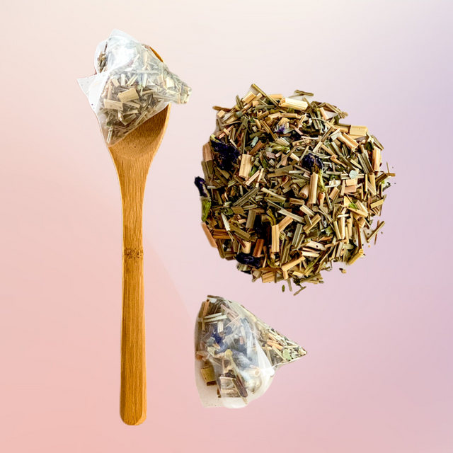 Image of Spoon with Tea bag and loose tea on Pink to purple gradient background