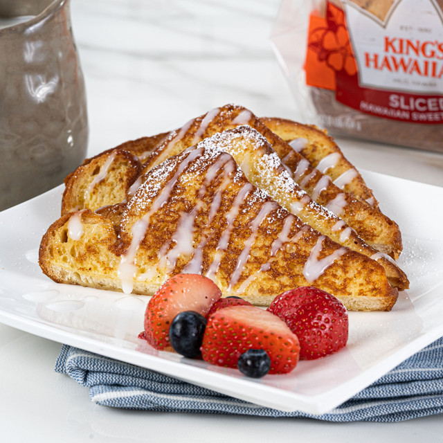 irresistible plate of delicious french toast made with King's Hawaiian Original Hawaiian Sweet Sliced Bread 1lb and French Toast Batter Mix 8oz, topped with Coconut Syrup Mix 4oz