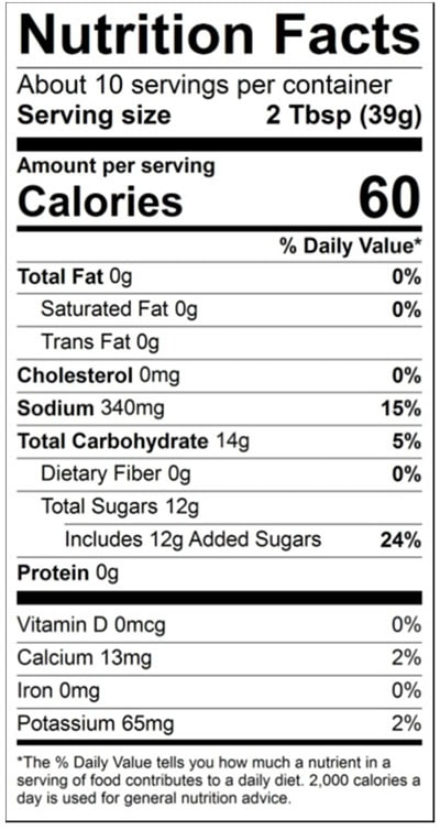 Sweet Island Ginger nutrition statement