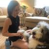 Henry and Mom using Safari Shedding Dog Comb With Rotating Teeth
