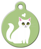 Dog Tag Art White Kitty Pet ID Dog Tag