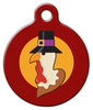 Dog Tag Art Turkey Pilgrim in Red Pet ID Dog Tag